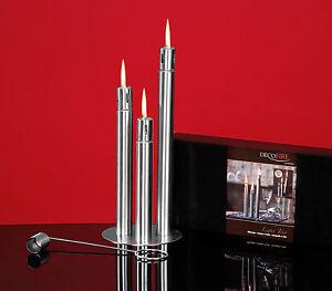 llampe 3er set edelstahl geb rstet kerze lampen l l. Black Bedroom Furniture Sets. Home Design Ideas