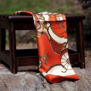 Orange-Pumpkin-carriage-vintage-100-Twill-Silk-Art-Square-Pattern-Scarf-21-X21