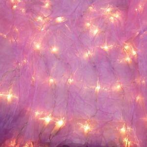 Organza vorhang lila beleuchtet 100 lichter 120x120 cm lichterkette weihnachten ebay - Lichterkette lila ...
