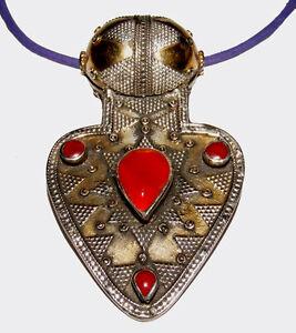 Orientalische-Silber-Karneol-Anhaenger-Herz-aus-Afghanistan-ASYK-pendant