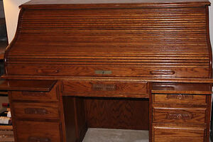 Original Manor Oak Roll Top Desk Ebay