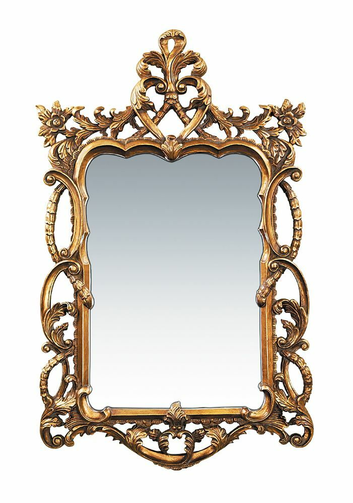 Ornate French Gold Leaf Floral Baroque Scroll Wall Mirror