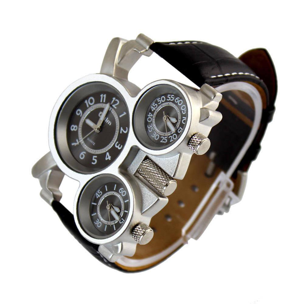 Oulm Luxury Sport Military Quartz Dial Clock Men Stainless Steel Wrist Watch