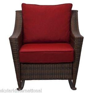 Outdoor Patio Deck Porch Wicker Rocker Rocking Chair Seat W Red Cushions EBay