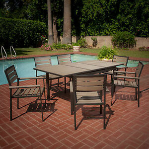 Outdoor Patio Furniture 7pcs Polywood Dining Set W Expandable Table
