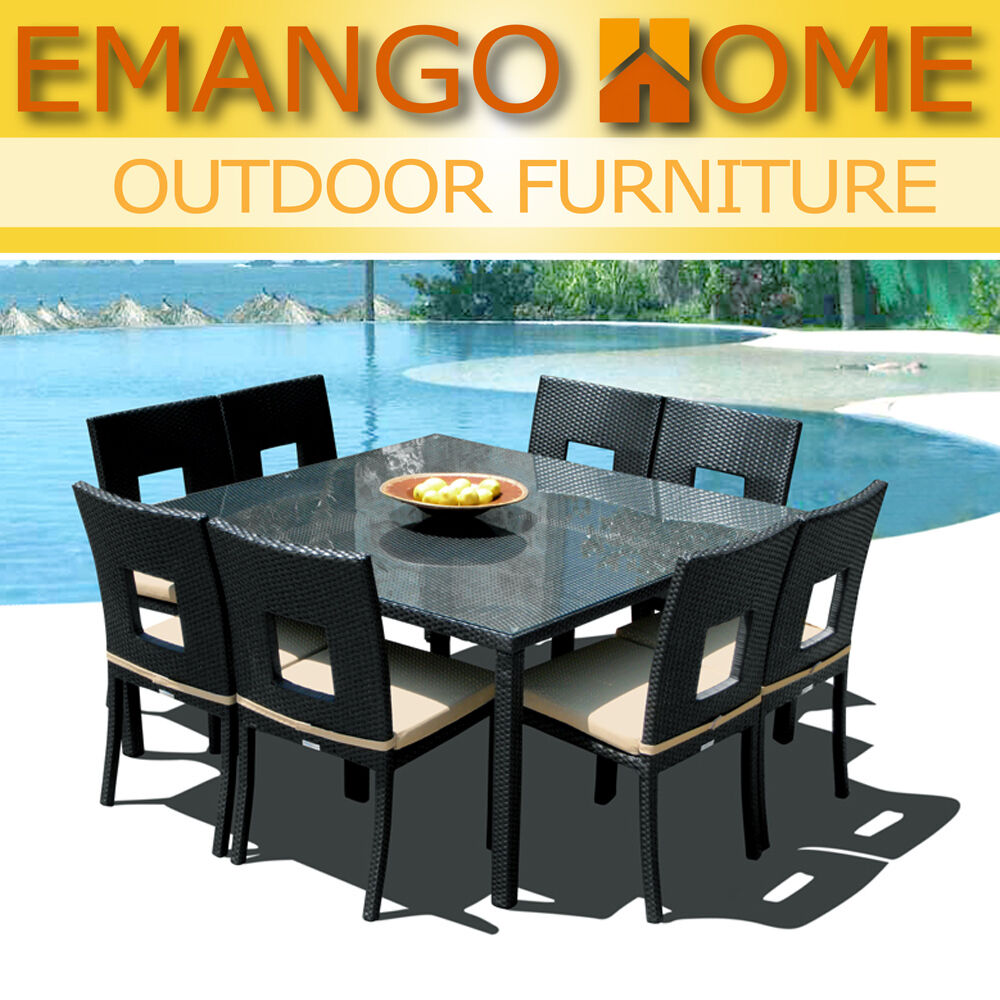 Outdoor Patio Furniture All Weather Resin Wicker Square Dining Chair