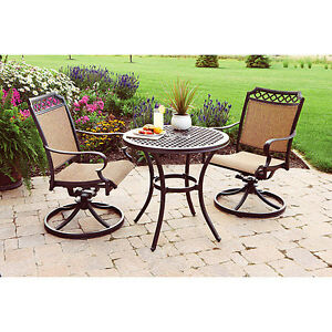 patio furniture table 2 swivel rocker chairs beige bronze bistro set