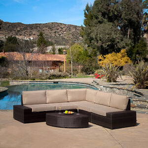 about Outdoor Patio Furniture Wicker Sectional Sofa Seating Set
