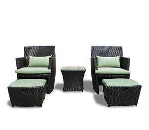 Outdoor Wicker Patio Balencia Bistro Set Chairs Ottomans