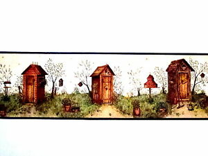Outhouses Wallpaper Wall Decor Border Country Bath Rustic Outhouses Bathroom Ebay
