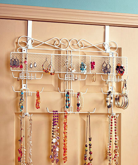 Over the Door Jewelry Valet Storage Organizer Necklace Bracelets Rings Wall NEW