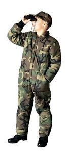 Overall-Boys-Woodland-Tarnfarbe-Isoliert-Gr-XS-XL-Reissverschluss-Nylonfutter