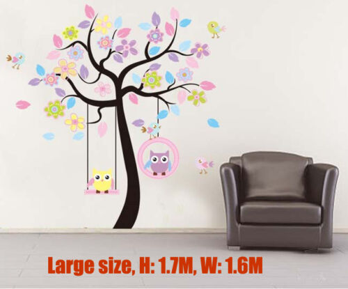 Owl Scroll Tree Hoot swing Wall Decal Art Nursery Stickers Removable Baby Decor in Home & Garden, Home Décor, Wall Stickers | eBay