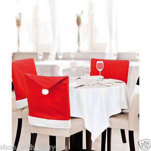 PACK OF 4 SANTA HAT CHAIR COVERS RED CHRISTMAS DINING