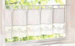 panneaux wei er baum gardine vorhang sichtschutz landhaus h kelgardine kurz ebay. Black Bedroom Furniture Sets. Home Design Ideas