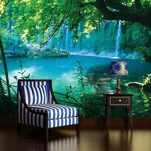 papier fototapete fototapeten tapeten wasserfall natur grun blumen 14n1783p8 ebay. Black Bedroom Furniture Sets. Home Design Ideas