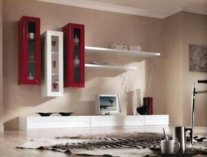 Parete attrezzata porta tv lcd moderna bianco rosso sospesa vari colori ebay - Parete attrezzata porta tv moderna ...