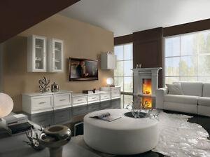 Parete attrezzata sospesa soggiorno laccata bianco anche for Parete soggiorno sospesa