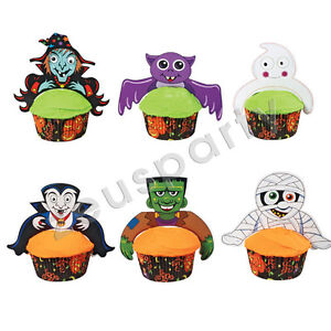 PARTY HALLOWEEN SET 12 PERSONAGGI DECORATIVI PER MUFFIN