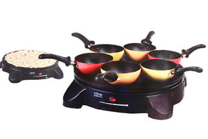 party wokpfanne 6 pfannen pfannkuchen maker 1400 watt wokset crepes wok set ebay. Black Bedroom Furniture Sets. Home Design Ideas