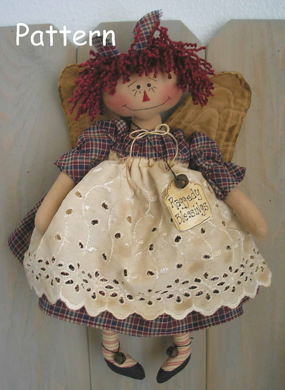 Pattern Primitive Raggedy Ann Angel Doll Folk Art Fabric Cloth Sewing