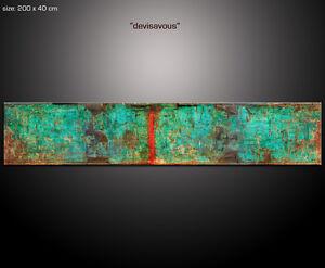 PAUL-SINUS-200x40cm-Kunst-Wandbilder-Abstrakt-Bilder-Devisavous-4cm-tief-XXL