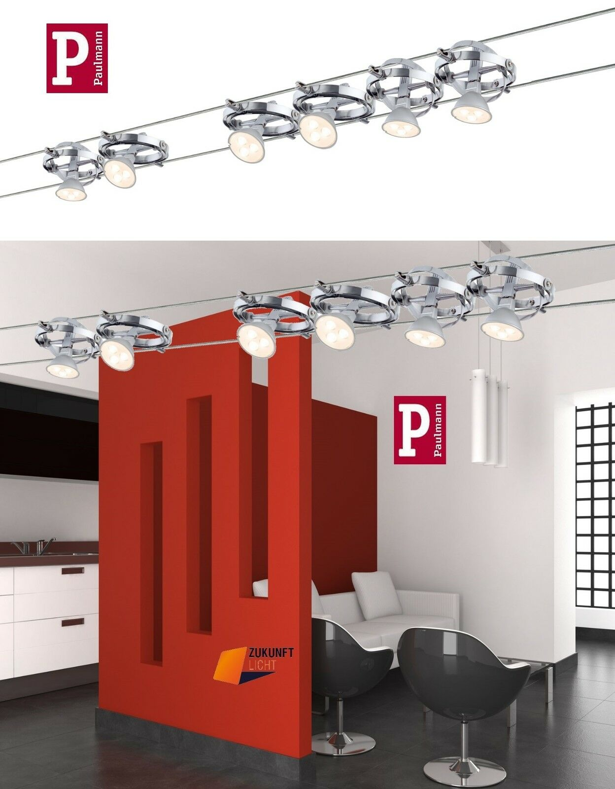 paulmann led seilsystem cardan in 2 varianten 4x4w 6x4w neuste led technik neu ebay. Black Bedroom Furniture Sets. Home Design Ideas