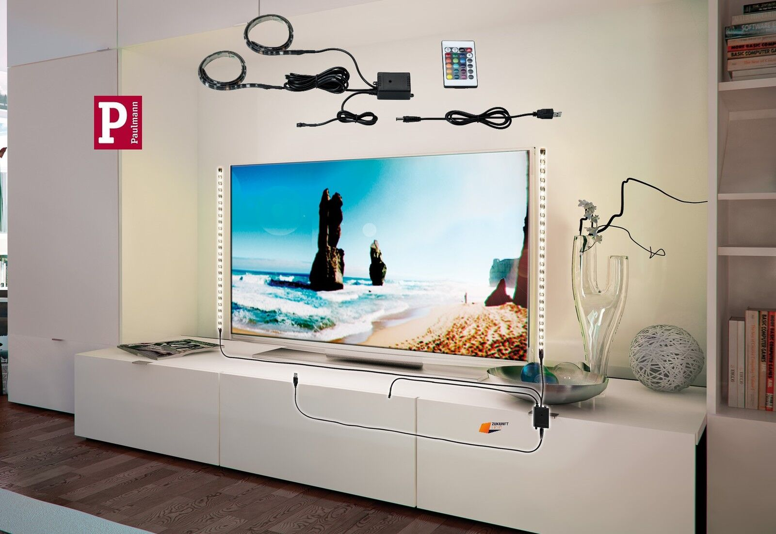 Paulmann led strips rgb mit usb anschluss f r tv hifi - Wandhalterung fur tv gerate ...