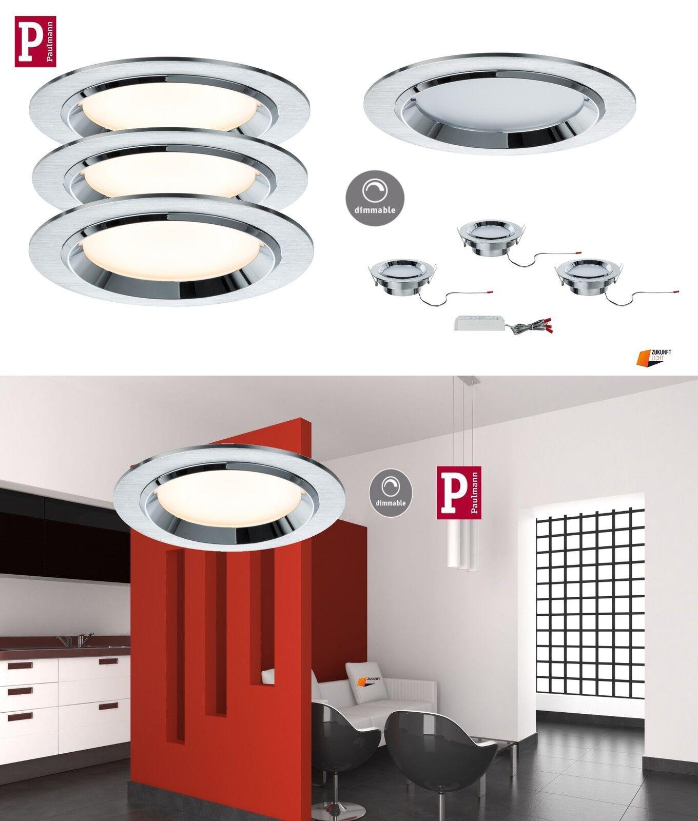 3er Set Premium Dot LED Alu gebürstet 3x8W Dimmbar UVP 159,00€ Paulmann EBL