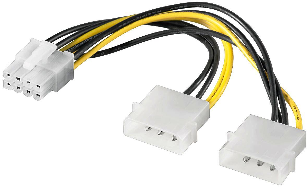 pci express 2 0 adapter netzteil strom 8 polig 2x 4 pin buchse 1x 8 pin stecker ebay. Black Bedroom Furniture Sets. Home Design Ideas
