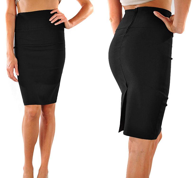 PENCIL SKIRT Knee Long Slimming Sleek High Waist Stretch S M L