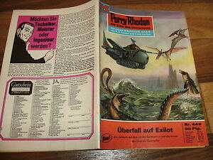 PERRY-RHODAN-443-UBERFALL-auf-EXILOT-1-Aufl-1970-Reklame-fuer-Perry-LP