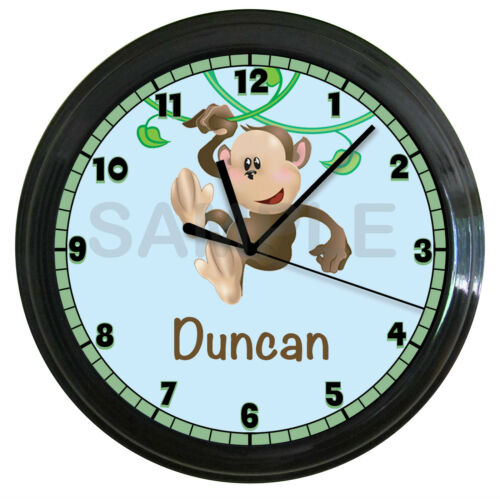 PERSONALIZED MONKEY NURSERY WALL CLOCK KIDS BEDROOM DECOR ART JUNGLE THEME in Home & Garden, Kids & Teens at Home, Bedroom, Playroom & Dorm Decor | eBay