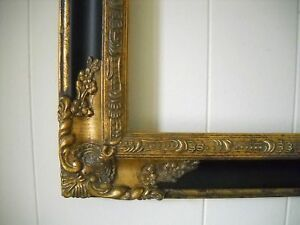PICTURE FRAME- antique gold & black ORNATE- 12x16 #1238 in Antiques, Decorative Arts, Picture Frames | eBay