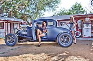 Pin Up Girl Hot Rod Schild 44 5cm V8 Chevy Ford Ethyl