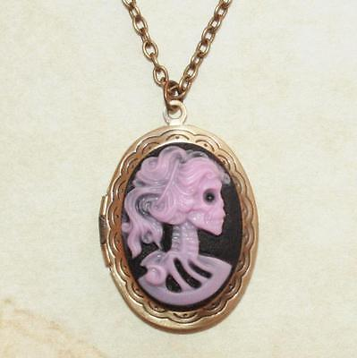 PINK & BLACK SUGAR SKULL LADY CAMEO LOCKET NECKLACE GOTHIC STEAMPUNK DOTD 28
