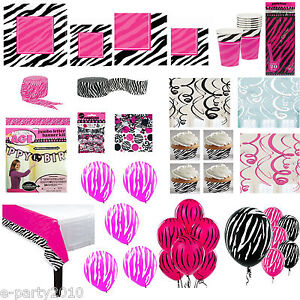 Pink amp black zebra animal print birthday party supplies for Animal print party decoration ideas