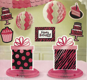 Black zebra animal print room decorating kit birthday party supplies