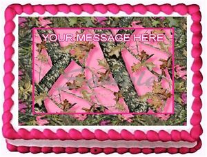Pink Camo Oak Mossy Edible Image Frosting Cake Topper Decoration
