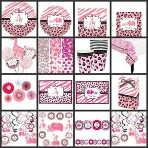 pink safari baby shower baby girl party supplies choose your own set