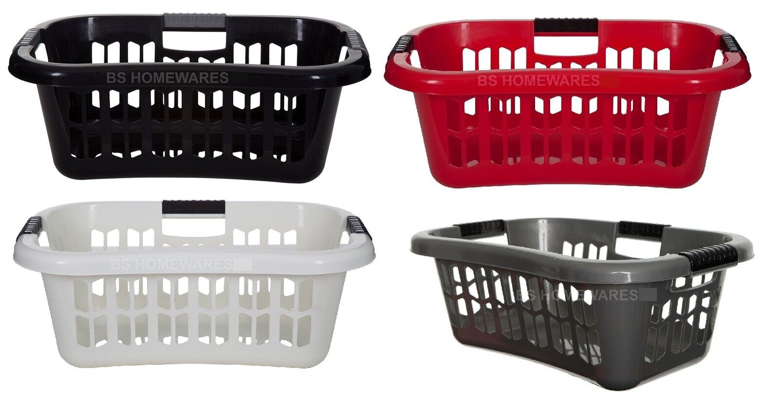 plastic large laundry basket easy grip hip washing up storage rectangular hamper ebay. Black Bedroom Furniture Sets. Home Design Ideas