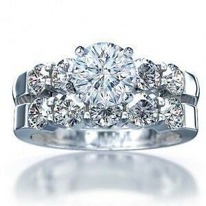 ~ PLATINUM ~ 3 CARAT FLAWLESS WEDDING RING SET in Jewelry & Watches, Engagement & Wedding, Engagement/Wedding Ring Sets | eBay