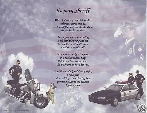 POLICE DEPUTY SHERIFF Poem Prayer Personalized Name Art