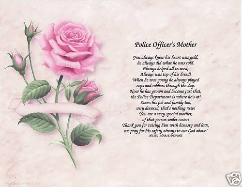 POLICE OFFICER MOM Poem Personalized Name Prayer Rose