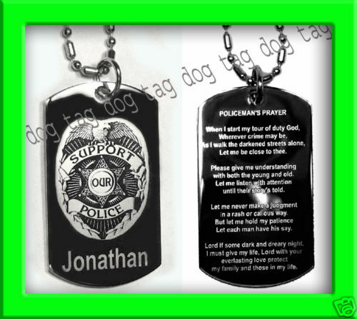 POLICEMANS PRAYER POLICE OFFICER DOG TAG OR KEY CHAIN