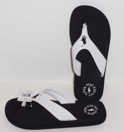 4ed3c4db6ee POLO RALPH LAUREN TERO Flip Flops White Top Strap Black Sole