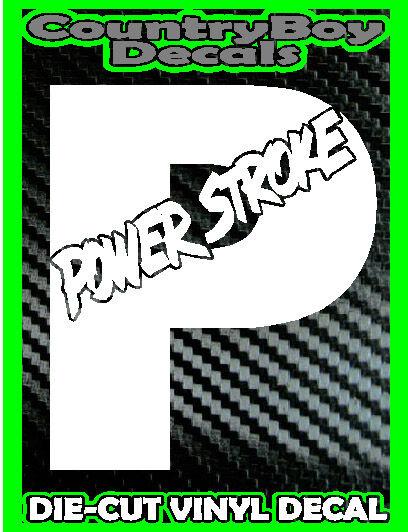 Powerstroke Ford P Logo Slant Vinyl Decal Sticker Turbo Diesel Truck 4x4 Mud