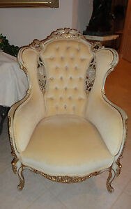 Store furniture pr antique french louis xv victorian wingback chairs