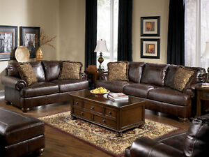 Living Room on Genuine Brown Leather Large Sofa Couch Set Living Room   Living Room