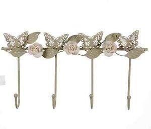 Pretty Vintage Style Butterfly Rose Metal Wall Hook Coat